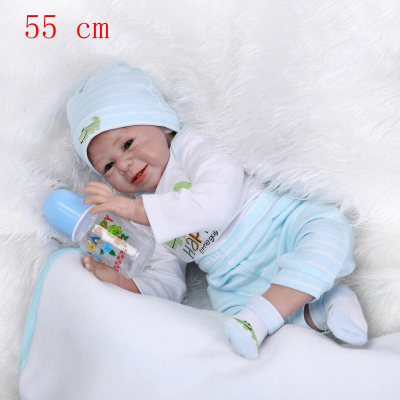 55CM Silicone reborn baby doll toys for girl lifelike reborn babies play house toy birthday gift girl brinquedods bonecas hot sale silicone reborn babies dolls gift for child kid classic play house toy girl brinquedos baby reborn doll toys