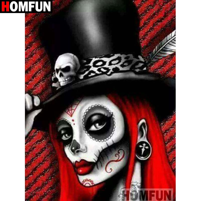 HOMFUN Diamond Painting Full Square/Round Rhinestones Skull girl Embroidery Cross Stitch Picture A16051