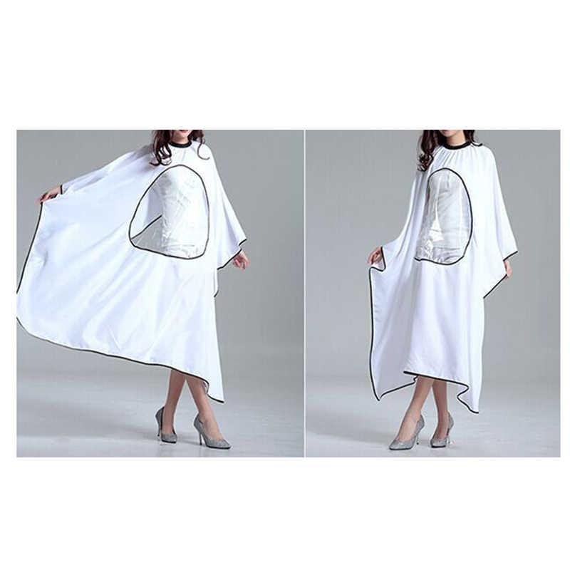 146 cm * 120 cm salón de peluquería capa impermeable abrigo peluquería corte vestido delantal con ventana de visualización ovalada cubierta transparente