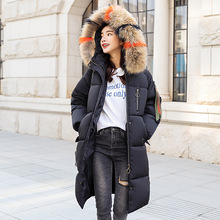 Winter new ladys cotton dress, long knee, thicker coat, jacket, loose colored collar