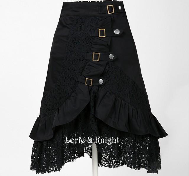 Steampunk ropa mujeres de gran tamaño de la moda falda de encaje de algodón negro Punk Rock Gótico Negro Falda Hipp Desgaste Del Club de La Vendimia