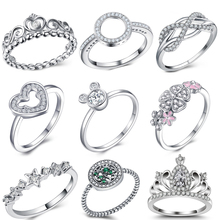 Fashion Sparkling Zircon Silver Color Ring For Women Flower Heart Crown Finger Rings Part Brand Ring Jewelry Dropshipping boosbiy 2019 hot sale 52 styles stackable party finger ring for women original brand heart crown ring engagement jewelry