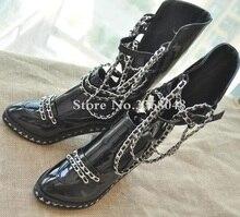 Купить с кэшбэком Fall Winter Ankle High Black Motorcycle Boots Shoes Women Chained Overknee Boot Chunky Heels Big size