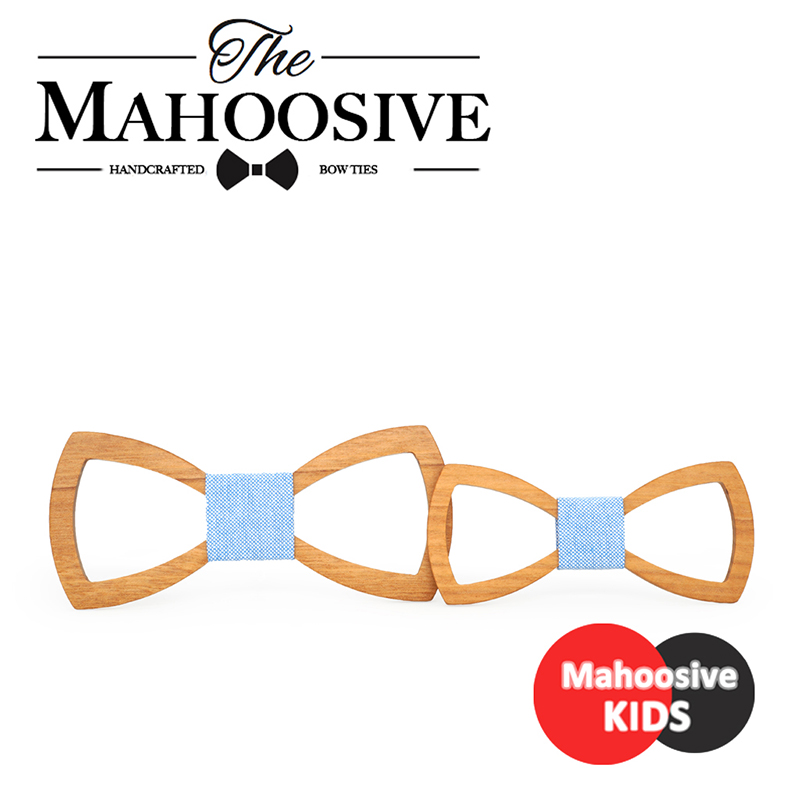 Mahoosive Father Kids Children Bow Tie Necktie Wood Tie Gravatas Corbatas Butterfly Cravat Wooden Mens Bow Ties Combo