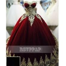 Fotos reales de Borgoña Árabe Vestidos de Noche Largo 2017 Del Cuello Del Amor de Tulle Puffy Balón vestido de Encaje de Oro de Las Mujeres Vestidos Formales