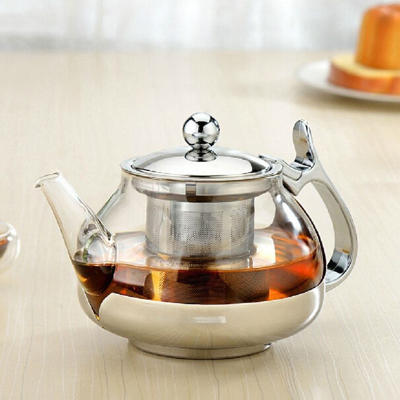 Thick glass teapot stainless steel with filter kungfu tea kettle temperature control flower teapot drinkware holiday gifts