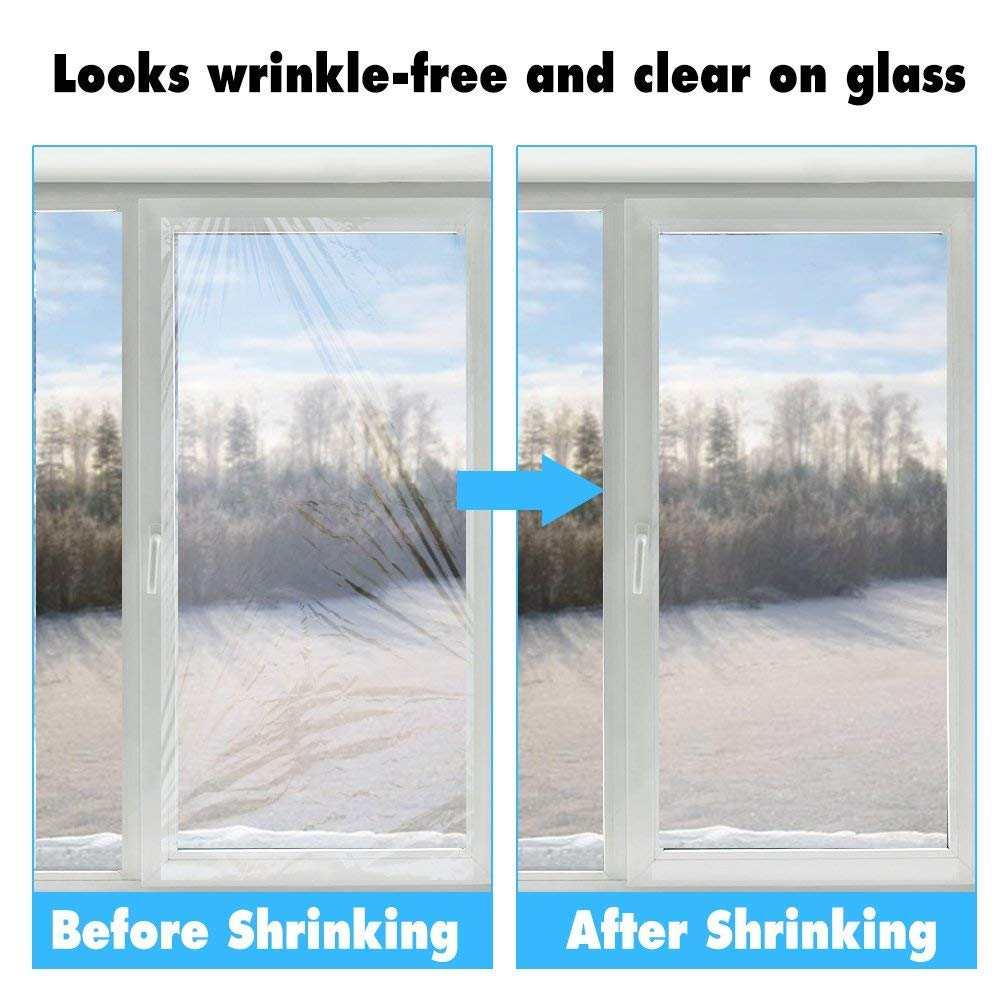 Winter Window Shrink Insulation Film Kit 158X535 - Indoor Window Shrink Film Insulator Kit for Energy Saving Crystal Clear Film