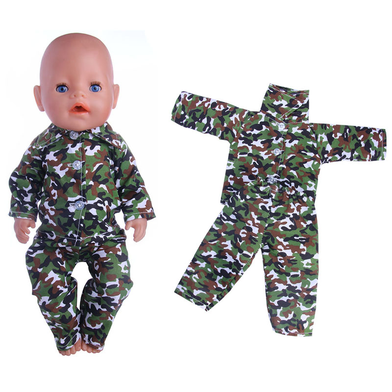 2017 new camouflage pajamas, suitable for zapf43CM dolls, giving children the best Christmas present