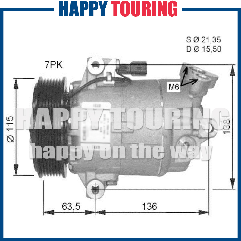 US $106.95 7% OFF|A/C Compressor For NISSAN X TRAIL T31 2.0TD sel 07 on