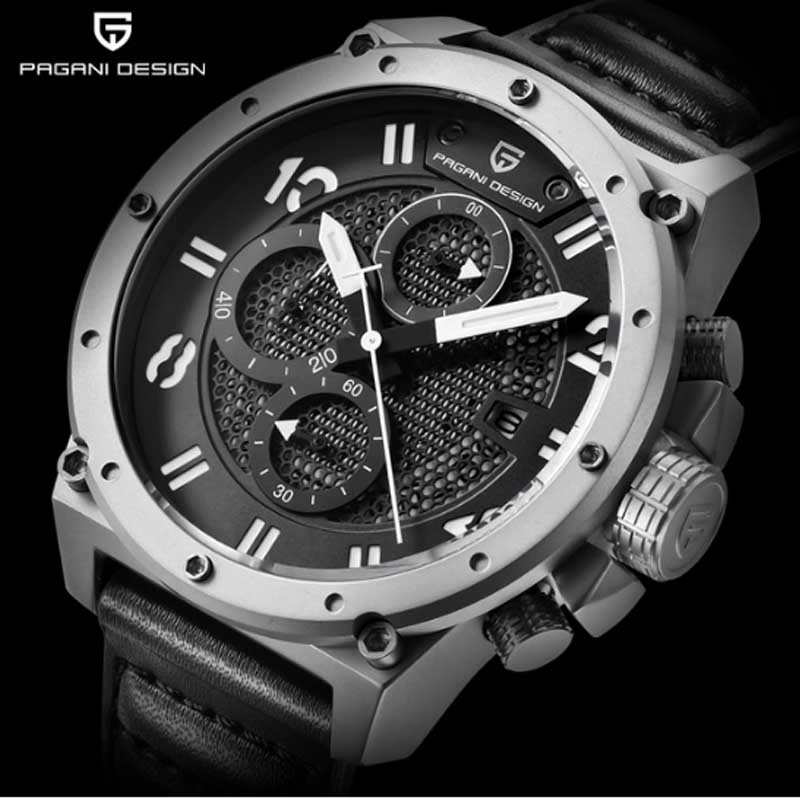 PAGANI DESIGN Chronograph Sports Watches Men Leather Quartz Watch Luxury Brand Waterproof Military Wistwatch Relogio Masculino pagani design business casual leather men s watches fashion sport utility chronograph military watches relogio masculino 2016