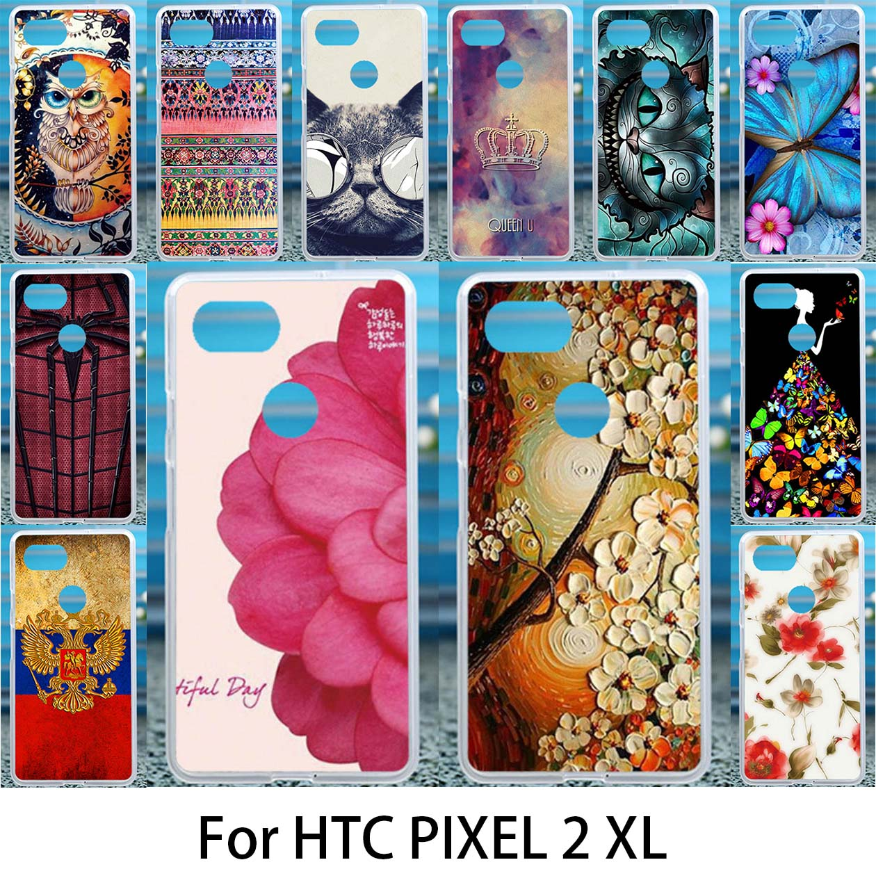 Case Soft For HTC Pixel2 XL Cases Google Pixel 2 XL Silicon Cover DIY Painted Anti-Knock Covers