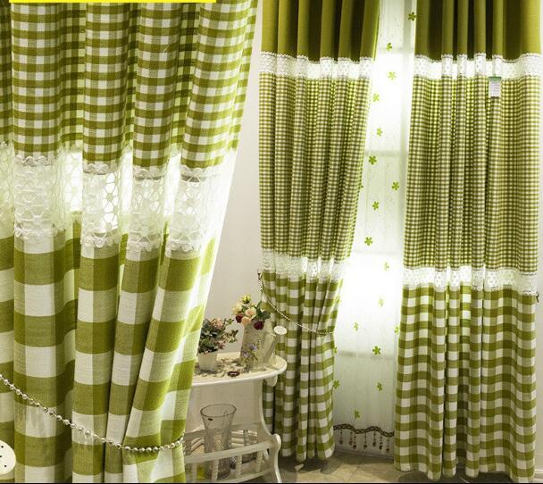 maat gordijnen gratis verzending 2 stukspartij pastorale stijl groene plaid linnen katoen kant mozaek woonkamer gordijnen in maat gordijnen gratis