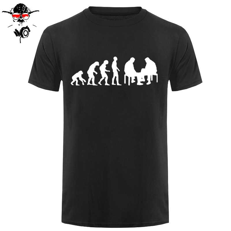 Fashion Summer Style Unique T Shirts Short Sleeve Men Gift Evolution Chess Player Crew Neck Shirts image