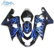Verkleidung set für SUZUKI GSXR600 750 2004 2005 motorrad verkleidungen kit 04 05 GSXR 750 GSXR 600 K4 K5 blau flammen ZT36