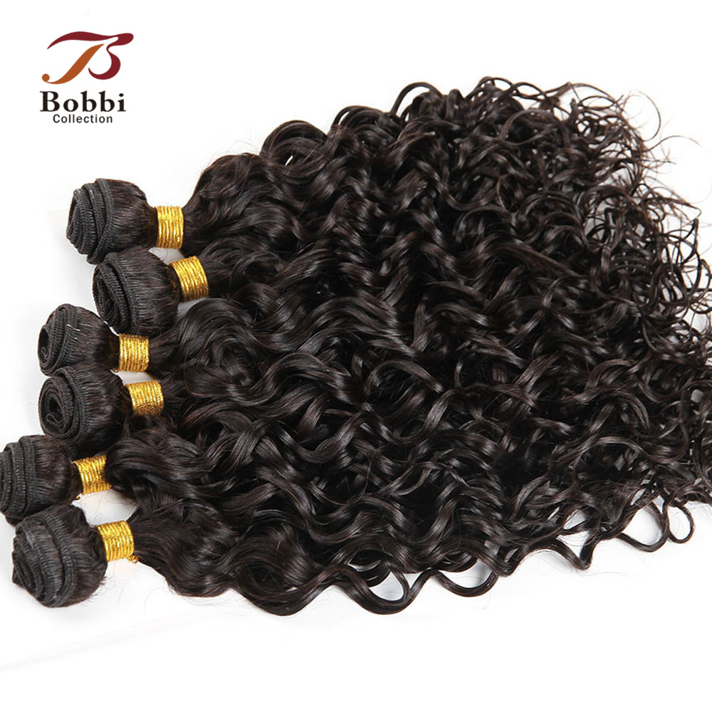 Bobbi Collection 6 Pcs Water Wave Human Hair Weave 1 Set For Full Head Natural Color Indian Remy Hair Extensions 210g/set