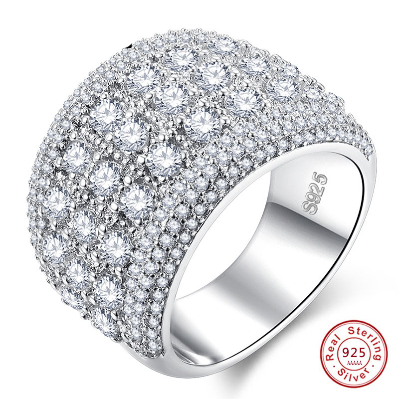 <font><b>Pure</b></font> <font><b>925</b></font> Sterling <font><b>Silver</b></font> Sparkling wide <font><b>Rings</b></font> <font><b>for</b></font> <font><b>Women</b></font> Girls AAA CZ Crystal Wedding Engagement Jewelry Summer Sale image