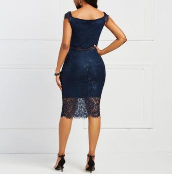 Женское винтажное кружевное платье с V-образным вырезом 6