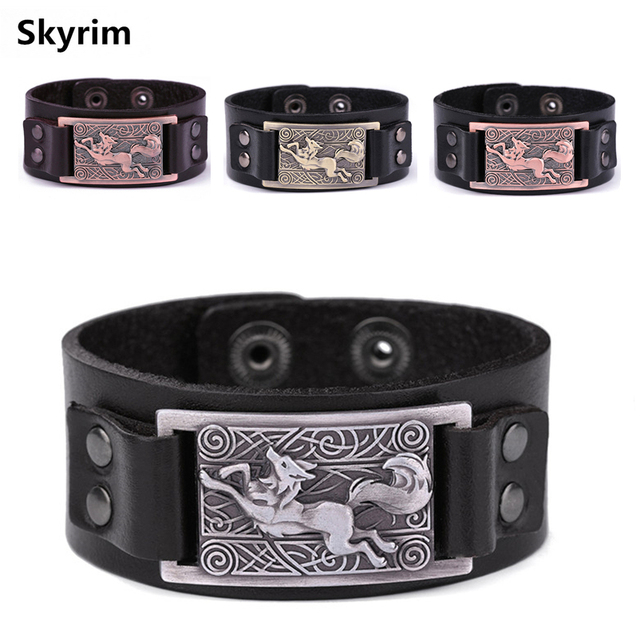 Aliexpress Com Buy Skyrim Teen Wolf Leather Bracelets Viking Wolf