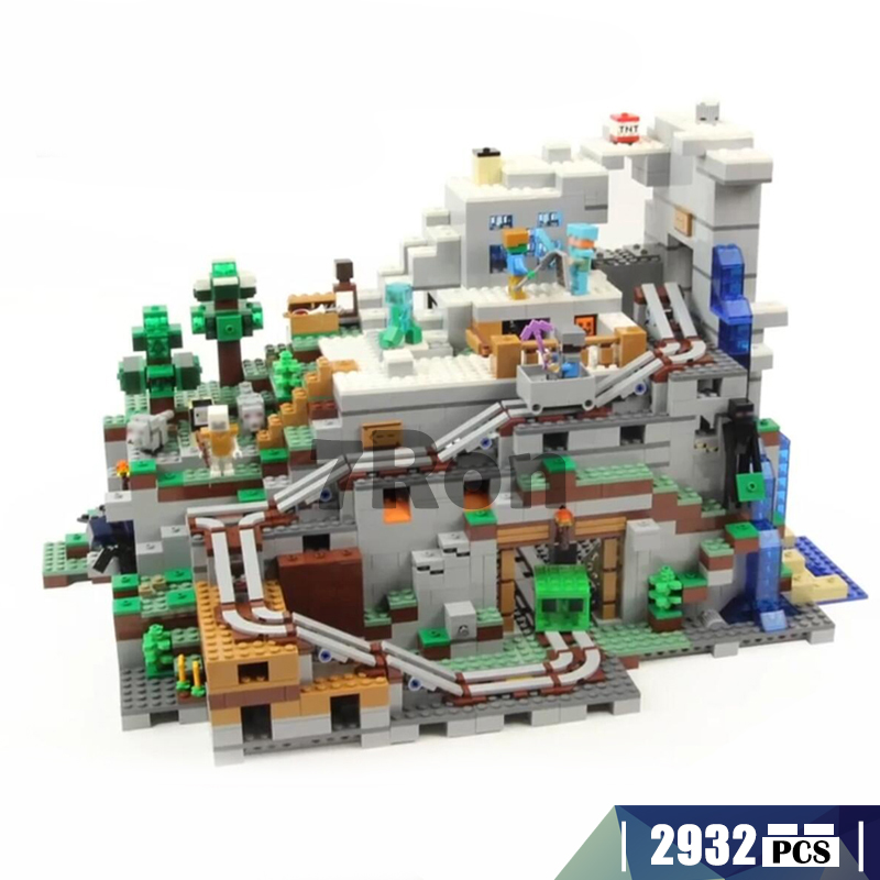 Model building toys hobbies The Mountain Cave 18032 Compatible With lego Minecraft series 21137 Educational DIY Bricks Children china brand educational toys for children diy building blocks 3in1 mountain hut 31025 compatible with lego