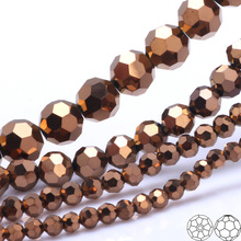 OlingArt 3/4/6/8mm Round Glass Beads Rondelle Austria 32 faceted crystal Copper color Loose bead DIY Jewelry Making