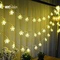 Nova 5 M 28 LED Fada Luzes Da Corda Da Árvore de Natal Do Floco De Neve Xmas da Festa de Casamento quarto Decoração de interiores Luci Natale Plugue DA UE 220 V