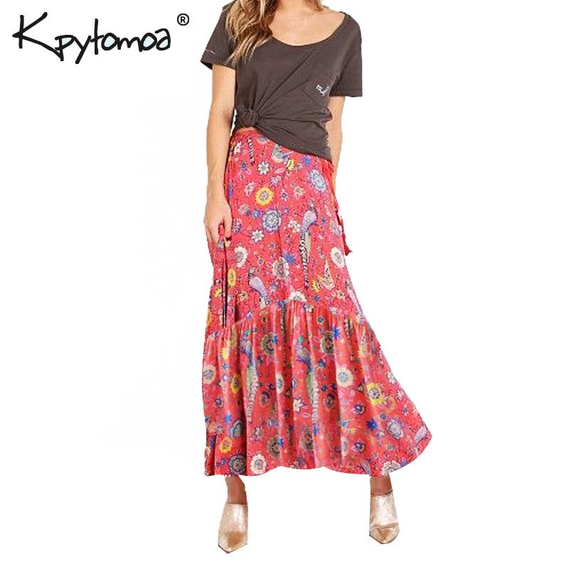 Bohemian Long Skirt Women New Fashion Summer Birds Floral Print Elastic  Waist Boho Beach Skirts Casual 2612d276c124
