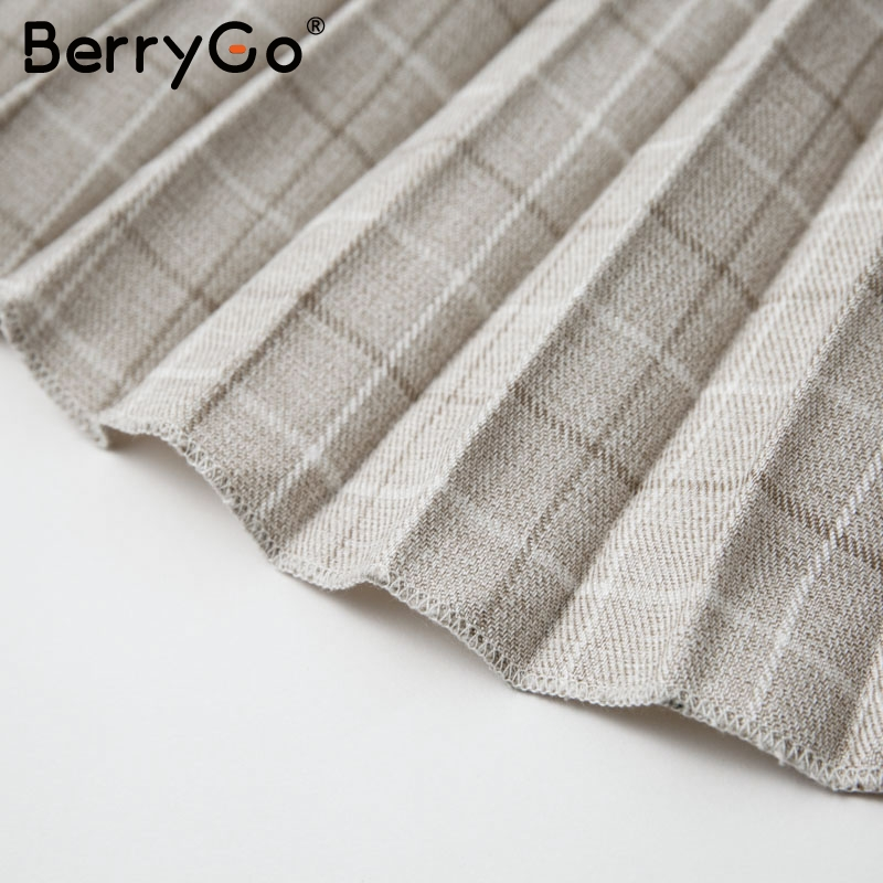 BerryGo Autumn winter women blazer dresses vestidos Pleated plaid long dress elegant Office ladies high waist belt female robe 16