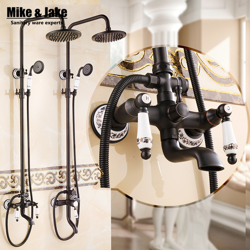 Euro Style Oil Rubbed Black Bronze Finish Dual Handle Brass Bath Shower Faucet With Slide Bar