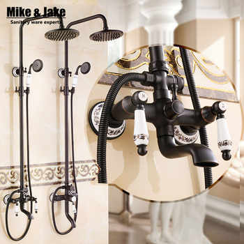 Euro Style Oil Rubbed Black Bronze Finish Dual Handle Brass Bath & Shower Faucet With Slide Bar With Hand Shower - DISCOUNT ITEM  10% OFF All Category