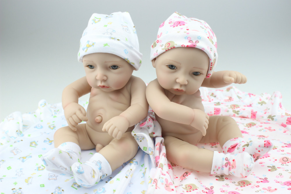MINI Simulation Twin Doll Cute Sweet Little Baby Silicone Vinyl Babydoll Babies Sleeping Toys Free Shipping Купальник