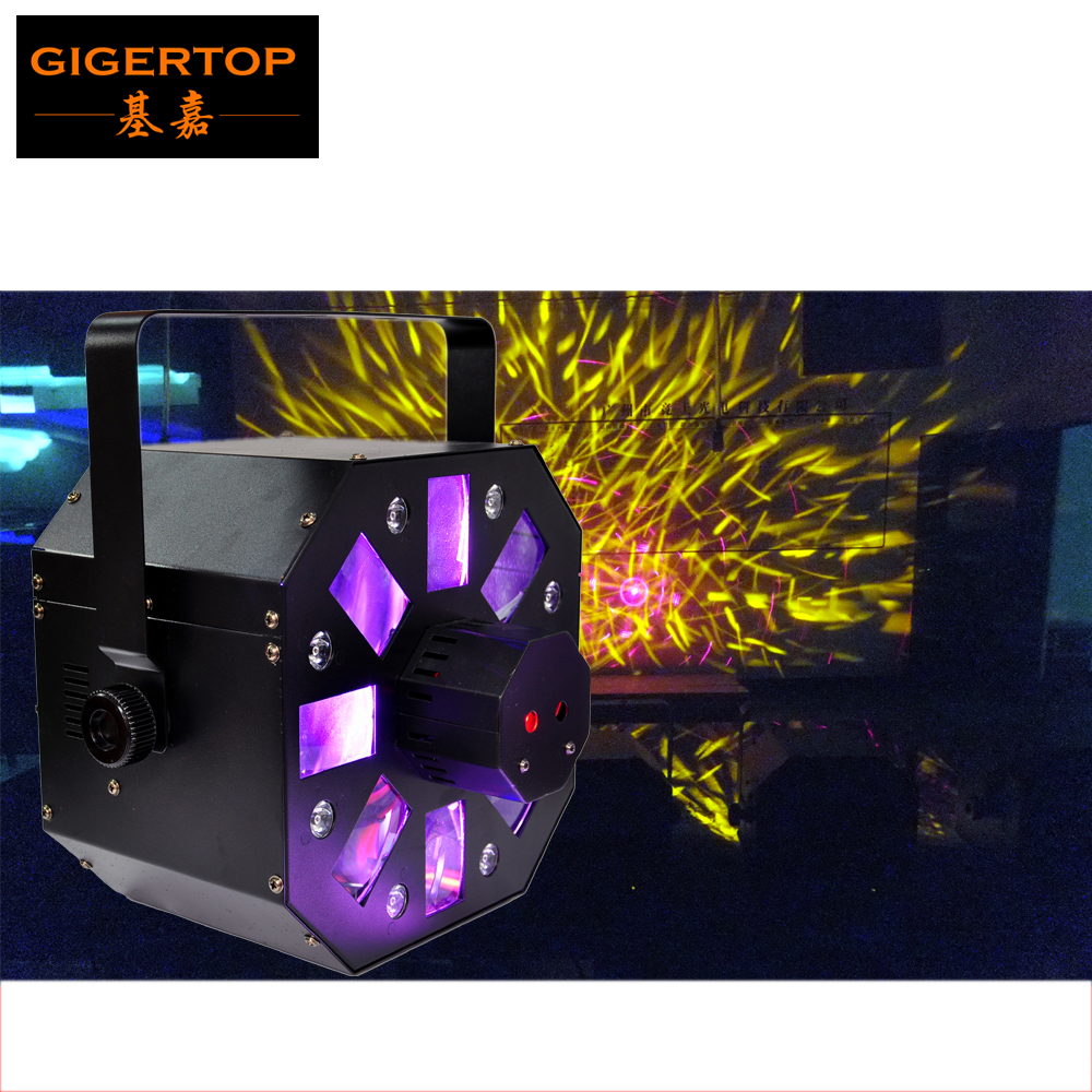 Freeshipping TP-E05 Led Colony Stage Effect Light LED White Strobe Combined with Red/Green Laser +RGBWA Rotating Derby Effect