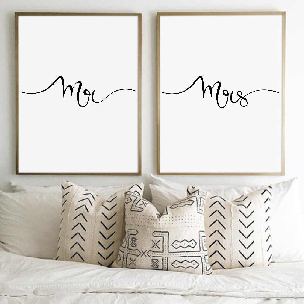 Mr and Mrs Print Wall Art Canvas Poster , Gifts for Newlyweds Bedroom Romantic Wall Decor Couples Print