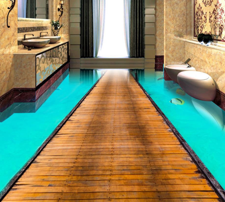 3d Floor Aegean Sea Custom 3d Floor Stickers Water Non