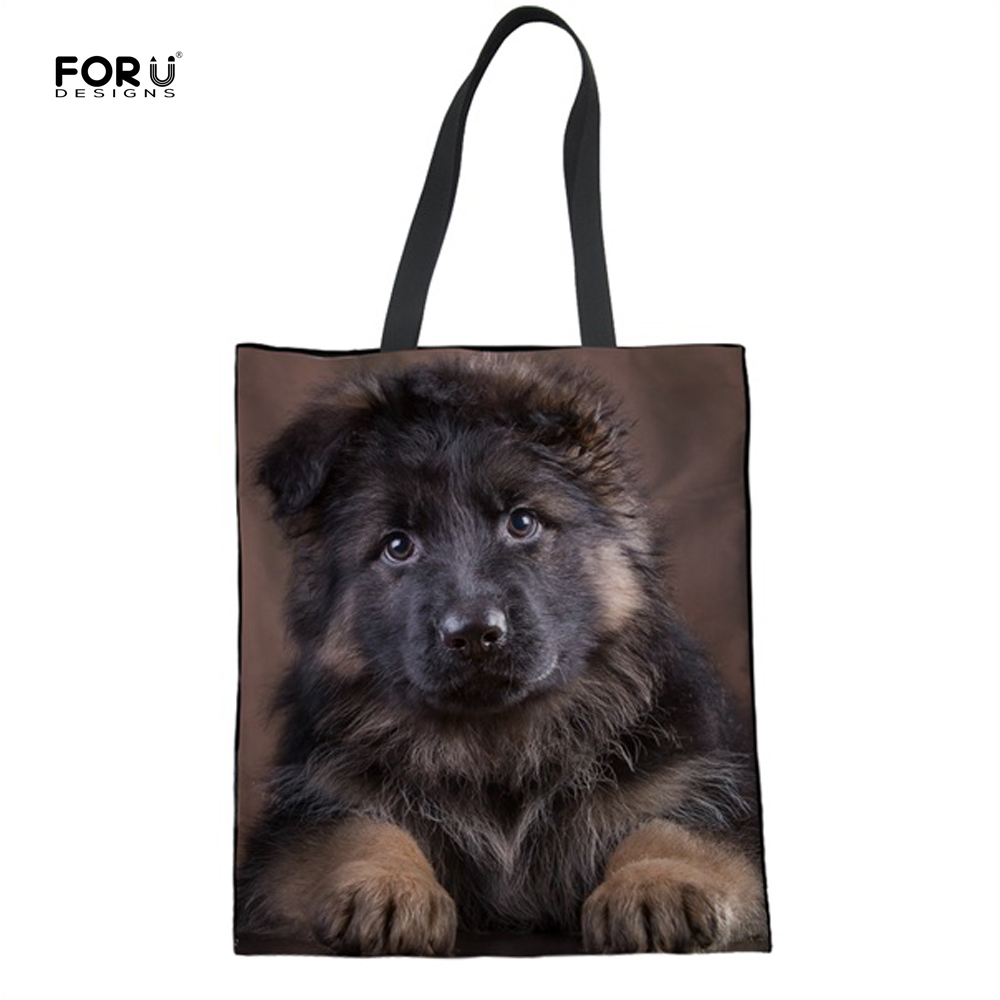 3D German Shepherd Girls Shopper Bags Large Reusable Tote Cloth Bags Shopping Bags Eco Bag Canvas