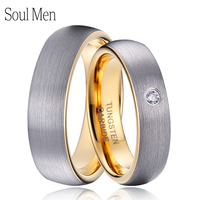 1 Pair Silver & Gold Color Dome Tungsten Carbide Wedding Ring Set 5mm for Female with CZ Stone 6mm for Male Comfort Fit