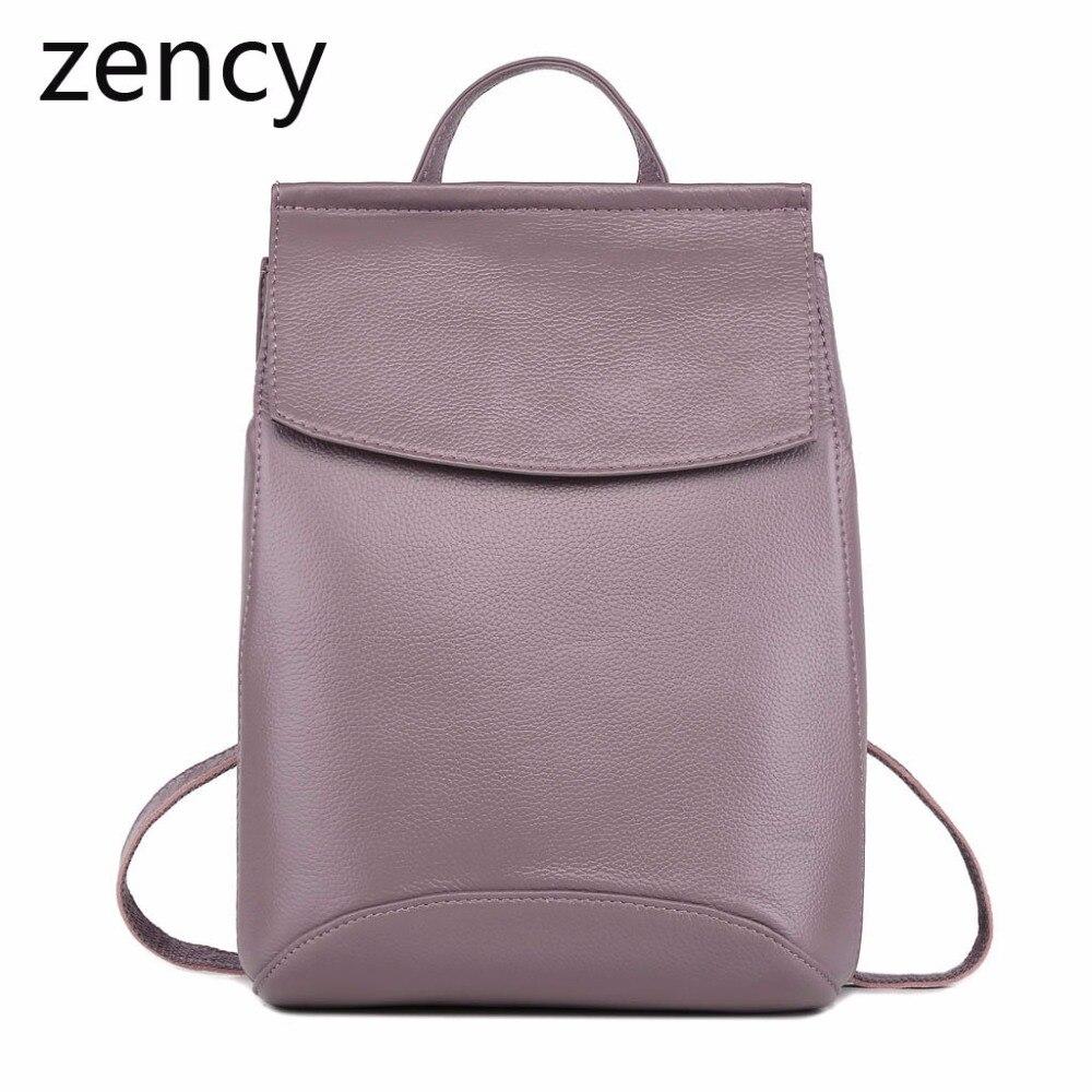 ZENCY Genuine Leather Women Backpacks Ladies Girl Backpack Top Layer Cowhide School Bag Mochila