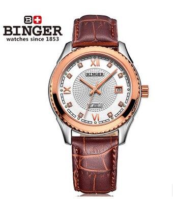 Designer tourbillon Automatic selfwind fashion watch luxury brand Binger wristwatch men leather strap mens watches Birthday Gift