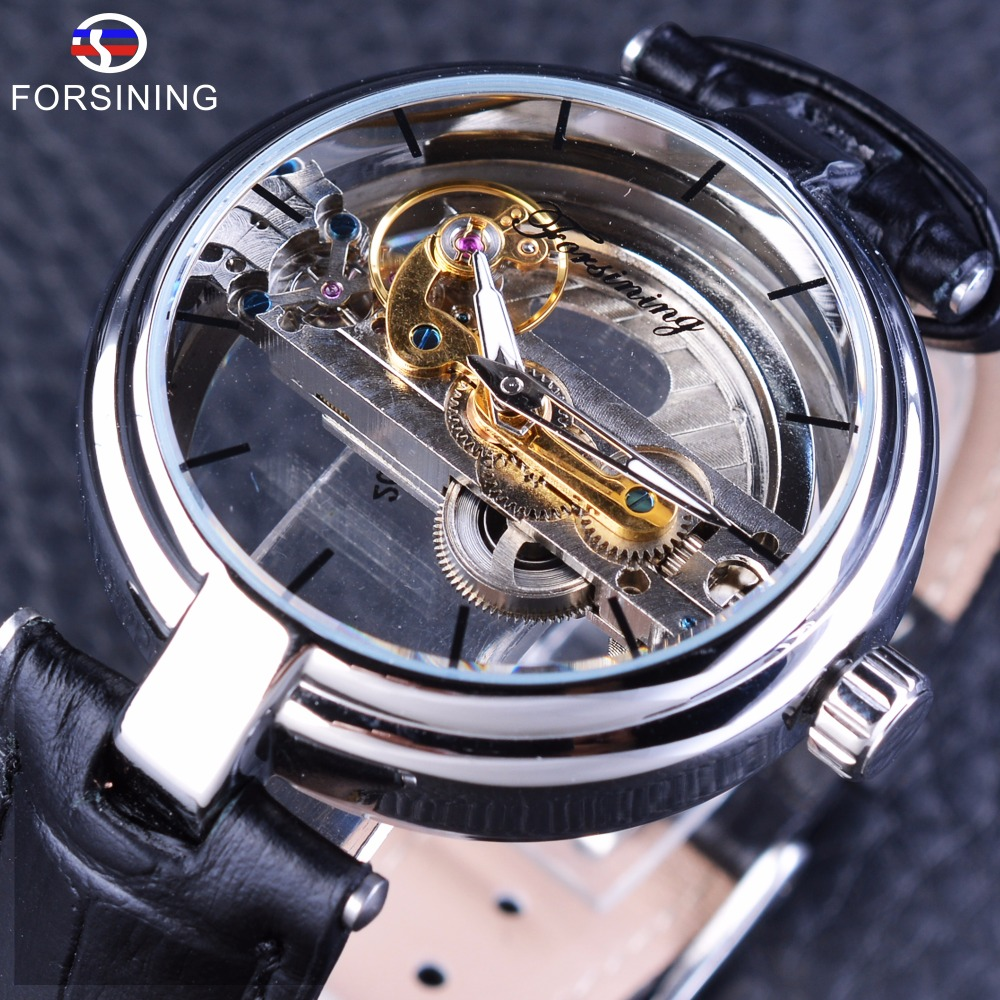Forsining Minimalism Design Double Sided Hollow Steampunk Mechanical Watch Men Luxury Brand Leather Skeleton Wrist Watches Clock orkina kc023 double sided hollow automatic mechanical men s wrist watch black silver coppery