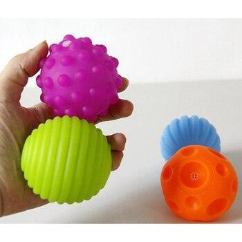 4 et 6 pièces texturé Multi boule ensemble doux développer bébé sens tactiles jouet bébé toucher main formation Massage balle hochet activité jouets