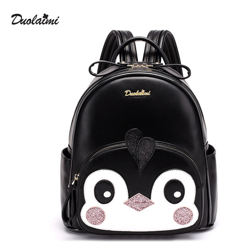 DuoLaiMi Famous Brand Women Backpack Cute Penguin Lady's Small Backpacks For Teenage Girls High Quality PU Leather Travel Bags пинетки митенки blue penguin puku