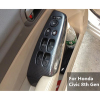 4Pcs/set Car Interior Armrest Window Lift Switch Button Panel Cover Trim Bezel For Honda Civic 8th Gen 2006 2011 ABS