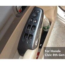 4 шт./компл. салона подлокотник окно Лифт кнопка включения Панель крышка отделка рамка для Honda Civic 8th Gen 2006- 2011 ABS