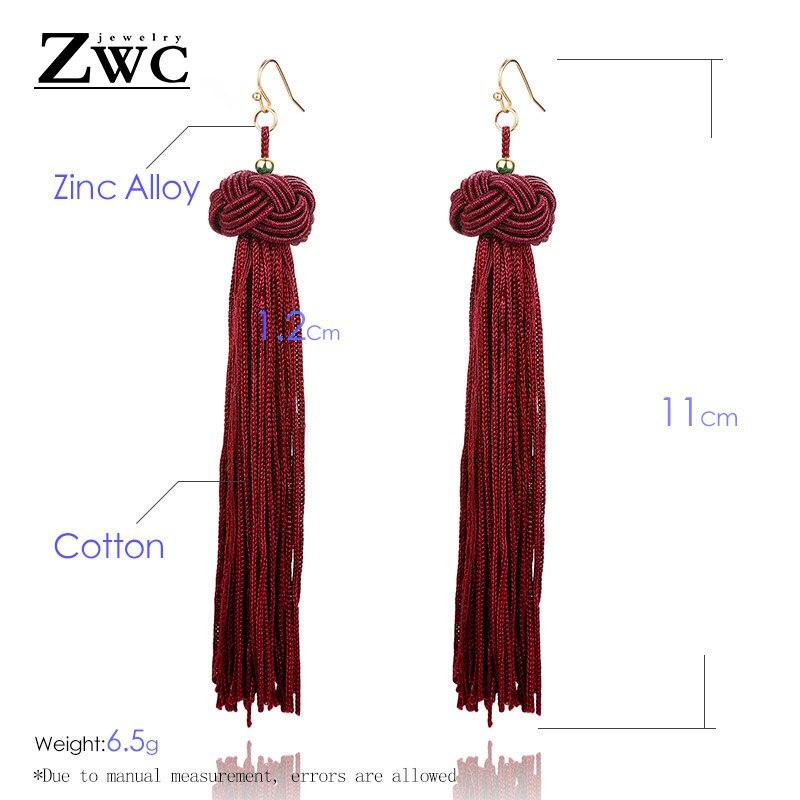 ZWC Vintage Ethnic Long Tassel Drop Earrings for Women Lady Fashion Bohemian Statement Fringe Dangle Women