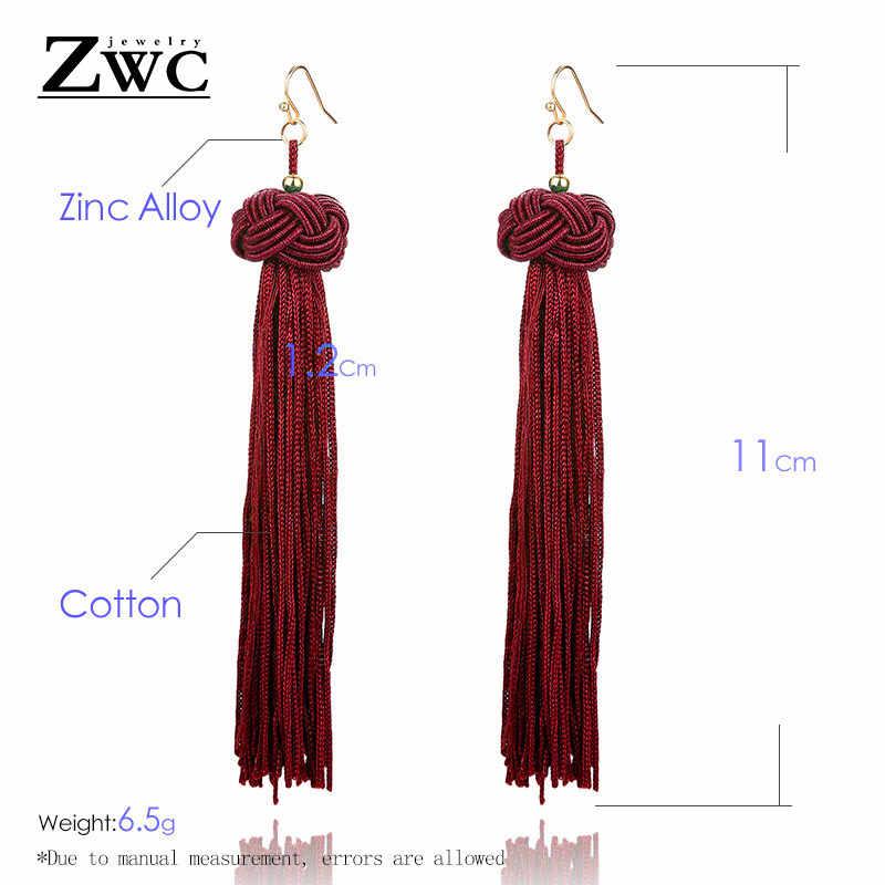 ZWC винтажная Этническая длинная ниспадающая кисточка, серьги для женщин, женские модные богемные серьги с бахромой, Висячие женские серьги, 2019 ювелирные изделия