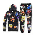 free shipping Hot Sale fashion Hoodies Cartoon 3D coffee Cat printed autumn Hoodies+casual trousers 2 pcs suit Crewneck Pullover