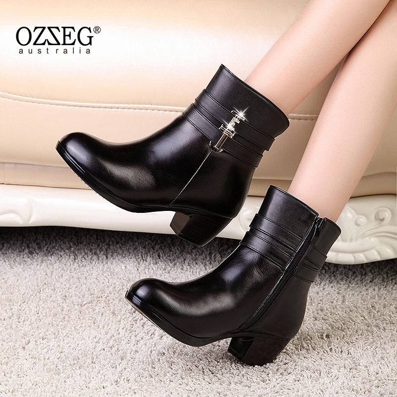 2018 Women Winter Shoes Women Genuine Leather Natural Wool Boots Brand Women Shoes High  ...