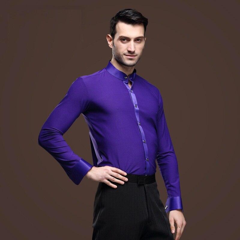 Picture of 2016 New Men Ballroom Dance Tops Male Purple  Latin Shirt Modern Dance Clothing Cha Cha/Rumba/Samba/Spanish Dance Wear