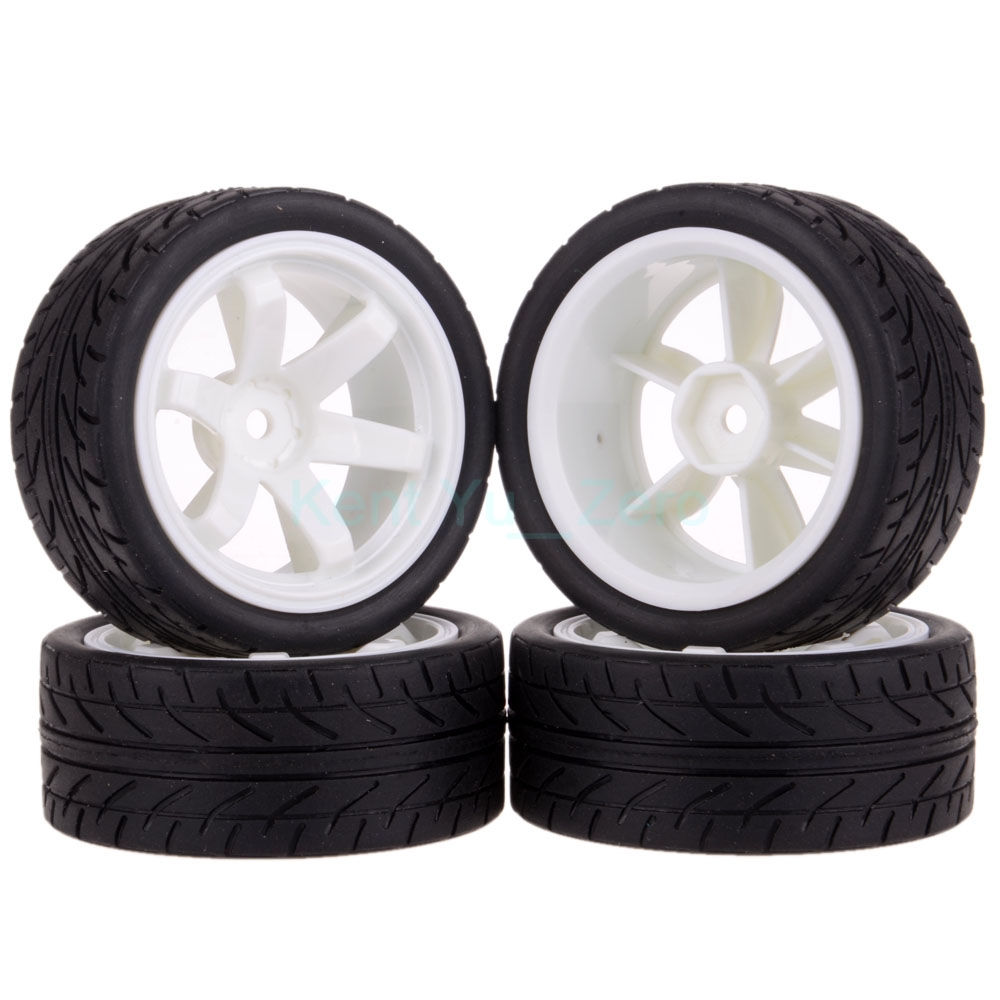 4PCS 12MM Hub HPI Redcat HSP Plastic Wheel Rim & Grip Rubber Tyre,Tires,For RC 1:10 Car On Road,702-8002 4pcs 1 10 on road rubber tyre for hsp tamiya losi rc car tyre