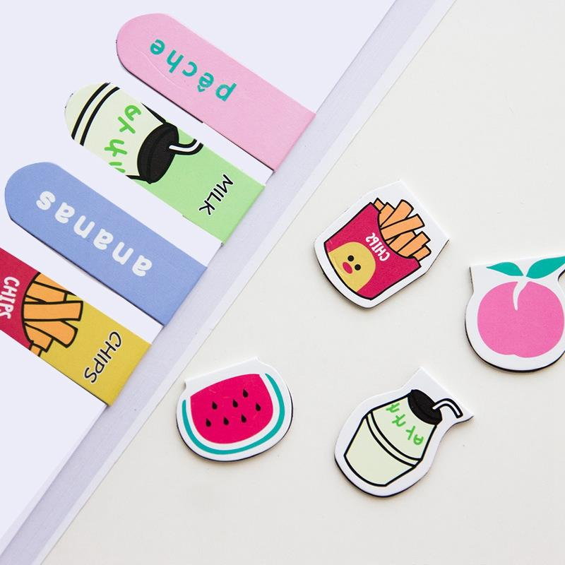 4 Pcs Cartoon Fruit Animal Cats Magnet Bookmark Paper Clip School Office Supply Gift Stationery