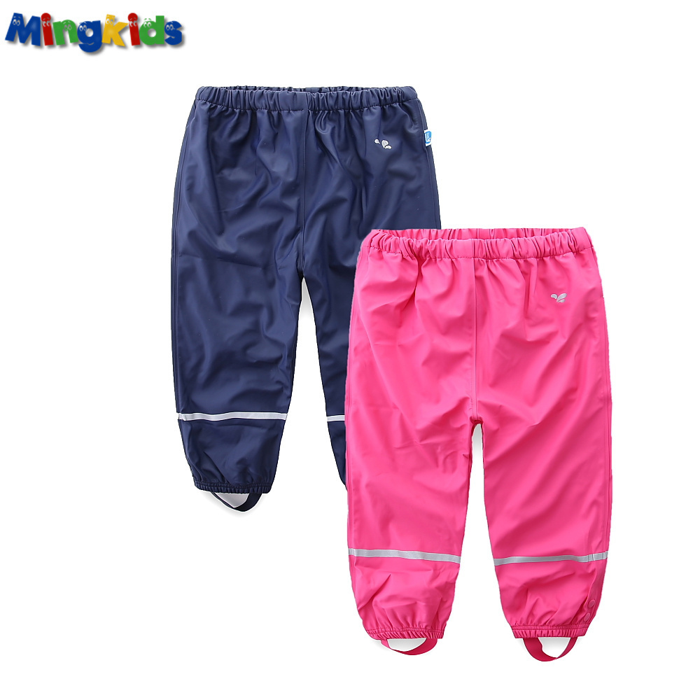 Mingkids Kids Waterproof Rain Pants Autumn Spring Trousers PU Outdoor Loose Fishman Pants Windproof Export Europe